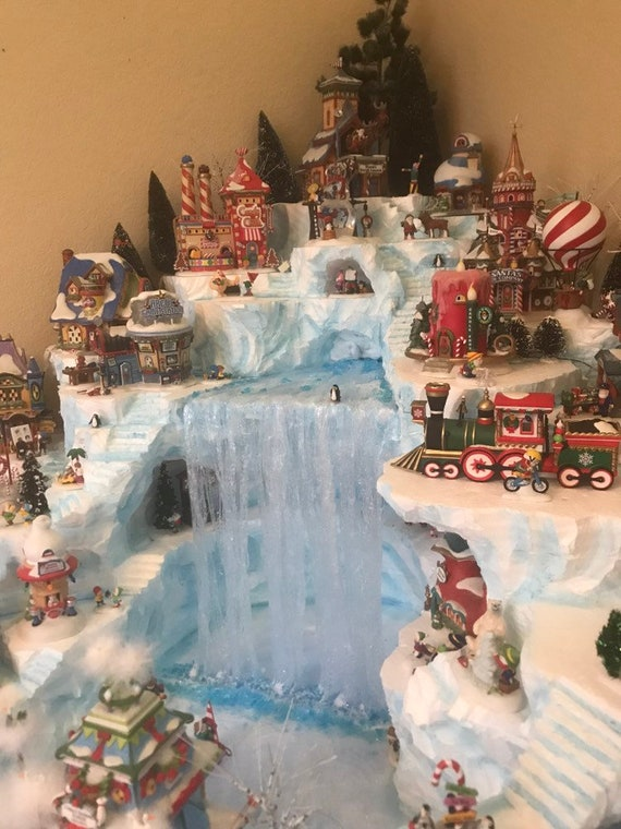Christmas Village Display.Custom Miniature Christmas Village Display Platform