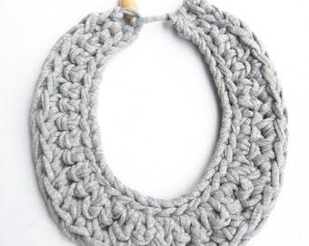 Gray Cotton Bib Necklace, Gray Crocheted Necklace, Gray Knitted Necklace, Tshirt yarn necklace, Gray Cotton Accessories, Woven Necklace.