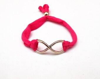 Infinity bracelet, Infinity Jewelry, Love bracelet, Love jewelry, cotton bracelet, Boyfriend Bracelet, Girlfriend Bracelet, Pink Bracelet