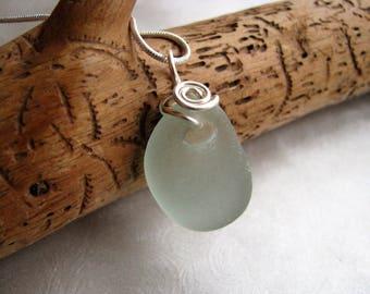 770c5c83a Natural Seafoam Green Sea Glass - Sea Glass Pendant - Wire Wrapped Pendant  - Prince Edward Island Pure Sea Glass - Ocean Jewelry