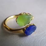 Beach Glass Jewelry - Cobalt Blue and Kelly Green Ring - Sea Glass Double Ring - Mermaid Tears -Genuine Sea Glass from Prince Edward Island