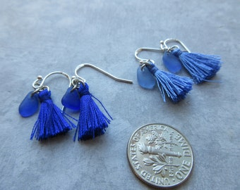 Chakra Third Eye Blue Tassel Earrings with Blue Seaglass -Boho Earrings -Decisiveness - Intuition -Genuine Sea Glass - Prince Edward Island