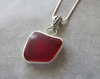 Christmas Gift - VERY RARE Red - Sterling Silver Bezeled Red Sea Glass Necklace Sea Glass Pendant-Sea Glass Jewelry-Prince Edward Island