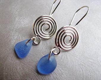 GENUINE Sea Glass Jewelry -Drop Earrings - Sea Glass Earrings - Wire Spiral - Cornflower Blue- Dangle Earrings -Authentic Sea Glass from PEI