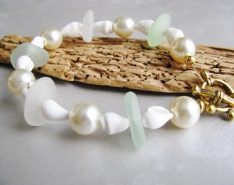 Authentic Sea Glass Jewelry -Sea Glass Bracelet - Beach Glass Bracelet - Seafoam and White - Shell and Pearl Bracelet - Mermaid Tears Gifts
