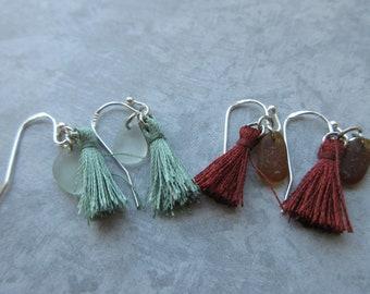 Chakra Heart Chakra Root Tassel Earrings with Soft Green or Amber Seaglass-Boho Earrings -Genuine Sea Glass - Prince Edward Island Sea Glass