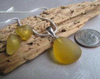 Authentic Sea Glass Jewelry -Rare Small Yellow Amber Jewelry - Sea Glass Jewelry Set - Yellow Orange Sea Glass - Prince Edward Island Glass