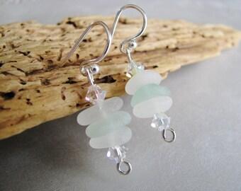 GENUINE Sea Glass Jewelry -Sea Glass Earrings - Seafoam and White Stacked Beach Glass - Dangle Earrings - Beach Glass Jewelry -Ocean Gifts