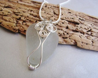 Beach Glass Pendant - Sea Glass - White Sea Glass - Wire Wrapped-Beach Glass Jewelry -ocean jewelry gift statement necklace genuine seaglass
