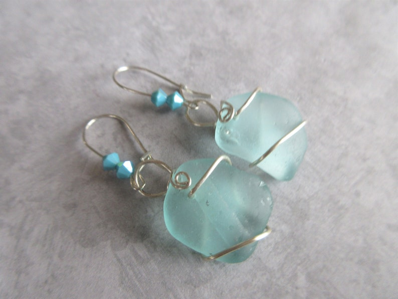279ca392b Aqua Blue Wire Wrapped Sea Glass Dangle Earrings Beach Glass | Etsy