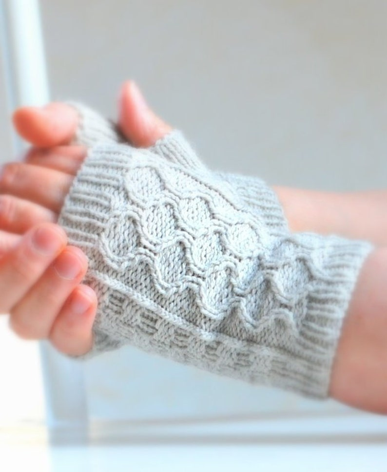 PDF Knitting Pattern Cable Fingerless Mitts Sport Weight image 0