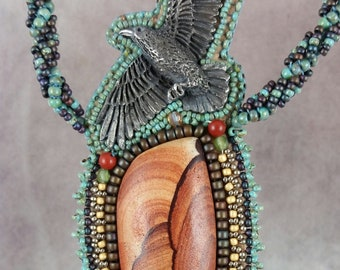Necklace, Raven, Beaded, Bead embroidered, Wonder Stone, Turquoise, Embroidered Necklace