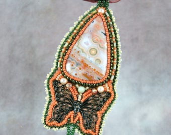 Necklace, Beaded, Bead embroidered, Ocean Jasper, brass butterfly,  Embroidered Necklace