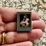 Miniature Leather Bound Book - Mother and Child Portraits - Fully Illustrated and Readable for Hitty or 1:12