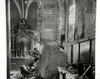 WWII Devastation, Bombed Church, 1945, B & W, Caption on Back in Polish Language 21966