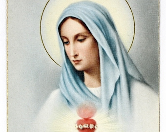 Virgin Mary Holy Cards, Immaculate Heart, 12 Vintage All the Same, Memorare Back