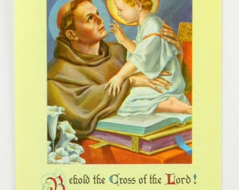 St. Anthony Vintage Novena Holy Card 1960 Franciscan with Favorite Blessing 22186