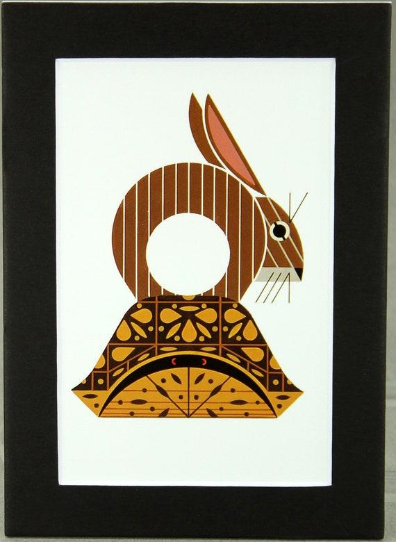 RABBIT fun animal art Glass Christmas Ornament Charlie// Charley Harper