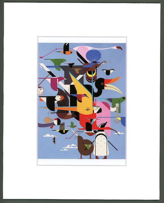 White Matted Wings of the World Charley Harper Print Flock of Birds Large