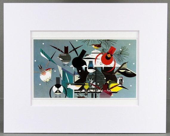 Black Matted Winter Charley Harper Print Large Bird Feeder