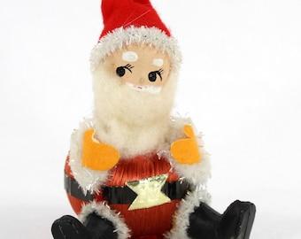 Satin Ball Santa Elf, Spun Cotton, Fluffy Beard, Made in Japan, Sitting Position