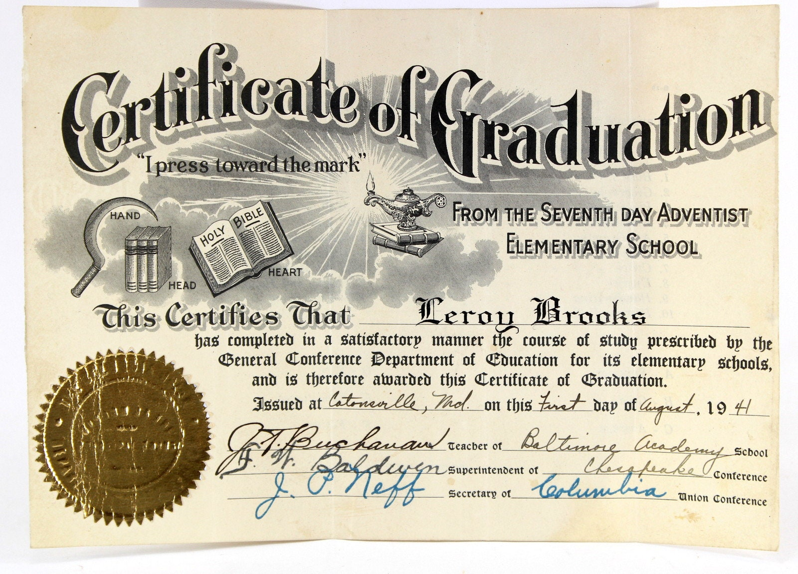 Catonsville Maryland Graduation Certificate Diploma 1944 Etsy