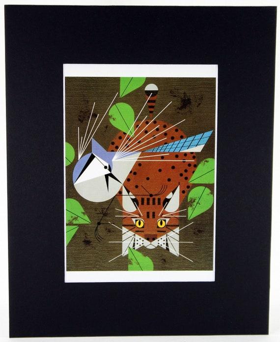 Catnip Charley Harper Print Cat /& Mockingbird Black Matted Large