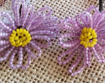 Set of Three (3) Vintage Glass Hand-Beaded Flower Picks, Flowers, Lavender