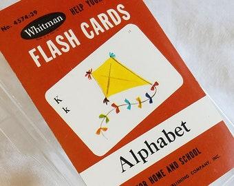 Vintage Set of Whitman Alphabet Flashcards, Missing One of 42 Cards, Paper Ephemera