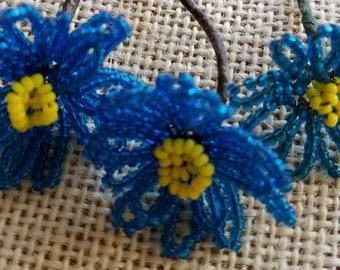 Set of Three (3) Vintage Glass Hand-Beaded Flower Picks, Flowers, Deep Blue