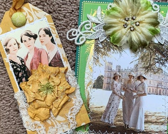 """SHIPS FREE, Downton Abbey 5x7"""" Embellished Print, Handmade Paper Art PLUS Handmade Hang Tag, Fan Gift, Party Favor, Three Sisters, Green"""