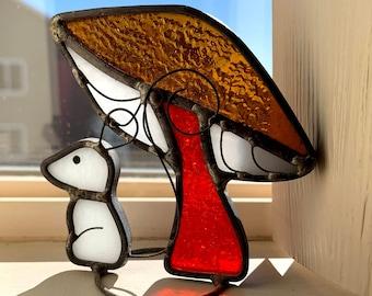 SHIPS FREE, Mushroom and Mouse, Handmade Stained Glass Decoration, Orange, Gold and White, Wonderful Design, Suncatcher, Shelf Sitter