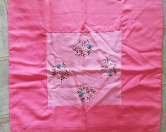 Vintage Pink Silk Pillow Cover, Asian Styling, Embroidered, Large, Square