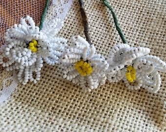 Set of Three (3) Vintage Glass Hand-Beaded Flower Picks, Flowers, White, Daisies