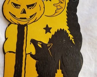 Vintage 1930s Embossed Halloween Paper Decoration, Cat, Pumpkin on a Pole, Moon, Stars, Marked HE Luhrs
