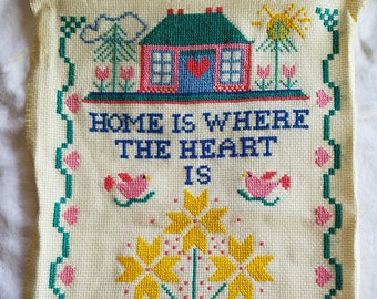 Vintage Completed Needlepoint Sampler, Home is Where the Heart Is