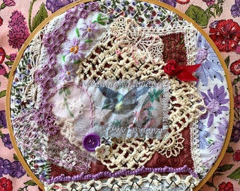 SHIPS FREE, Fabric Slow Stitched Collage, Bird, Garden, Floral, Handmade With Vintage Lace, Crochet, Buttons, Trim, in Embroidery Hoop