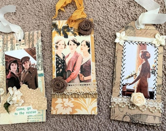 SHIPS FREE, Downton Abbey Set of 3 Handmade Paper Tags, Fan Gifts, Party Favors, Three Sisters, Rose, Lady Mary, Matthew, Mothers Day Gifts