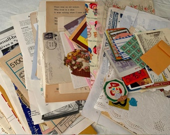 FREE SHIPPING, All Antique and Vintage Originals Ephemera Pack, 110+ Pieces, Photos Show the Actual Pieces You Will Receive, Colorful, Paper