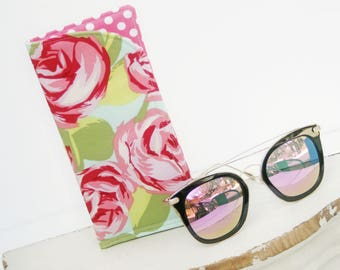 Shabby Roses Sunglass Case, Glass Sleeve, Monogrammed Cases for Oversized glasses, Pink Rose Sunglass case, Eyeglass Case, Eye Glass sleeves
