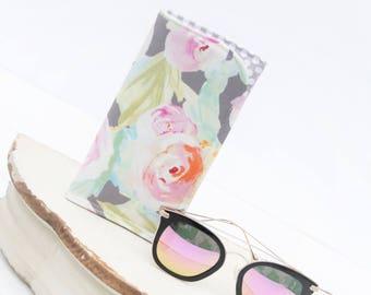 Tender Flower Grey Sunglass Case. Glass Sleeve, Monogrammed Cases for Over sized glasses, Funky Sunglass case, Travel Case, Sunglass sleeves
