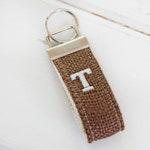 Linen and Burlap Mini KeyChain, Grey Mini Keyring,  Personalized Fabric Key Chain, Turquoise Key Ring, Wristlet Key Fob, Red Mini Keyfob