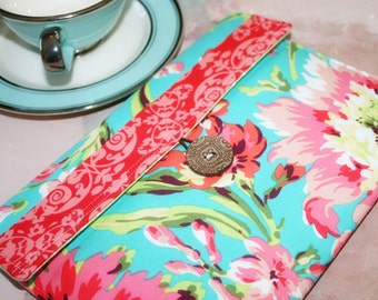 Kindle Case, kindle touch case, kindle sleeve, nook Cover  kindle Case Nook Color, Kobo, Sony - Cozy  in Hawaiian Flowers