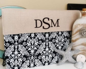 Monogram Kindle Case, Personalized kindle paperwhite case, kindle fire cover, Kindle Cover, Samsung Nook Case  in Black Damask & Linen