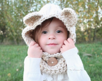 The Kisses Cozy Bear Scoodie -- Scarf, Cowl, Hat, Hood, Hoodie in one -- Custom colors and Sizes Available