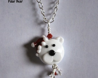 Necklaces for Women, Unique Necklaces, Ready to Ship, Silver Necklace, Popular Necklaces, Chain Necklaces, lampwork necklace, Christmas Bear
