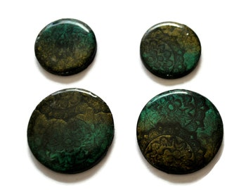 Set of 4 Cabochon Handmade Polymer Clay Beads for Beadweaving Flat Back Undrilled
