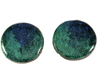 Pair of Cabochon Handmade Polymer Clay Beads for Beadweaving Flat Back Undrilled