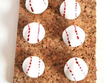 Decorative Pushpins, Home Decor, Office Decor, Thumbtacks, Thumb tacks, Push pins, Pushpins, Baseball Pushpins, Baseball Thumbtacks