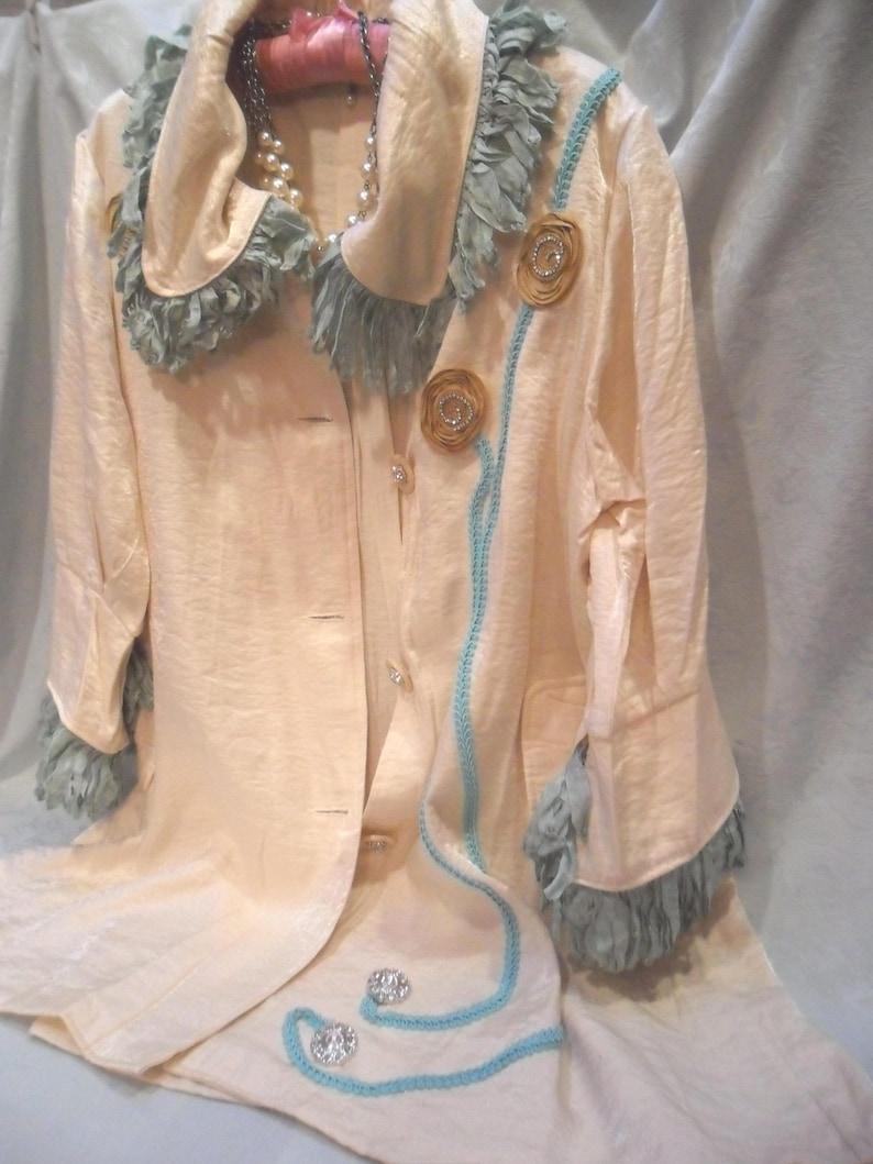 Ivory Satin 25/% Off End of Year Sale JACKET Duster Formal Whimsical Glamgirl Boho Satin Embellished